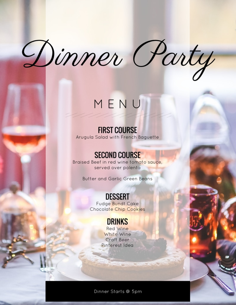 Afternoon Dinner Party Menu Template Preview 2
