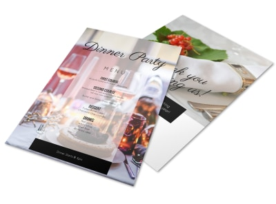Afternoon Dinner Party Menu Template preview