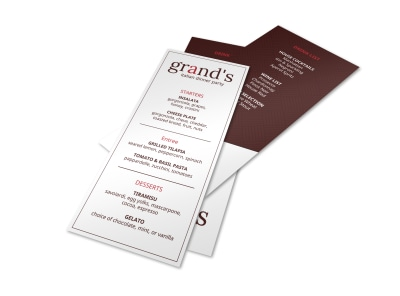 Grand Dinner Party Menu Template