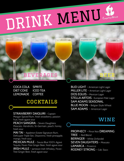 Fun Drink Menu Template Preview 1