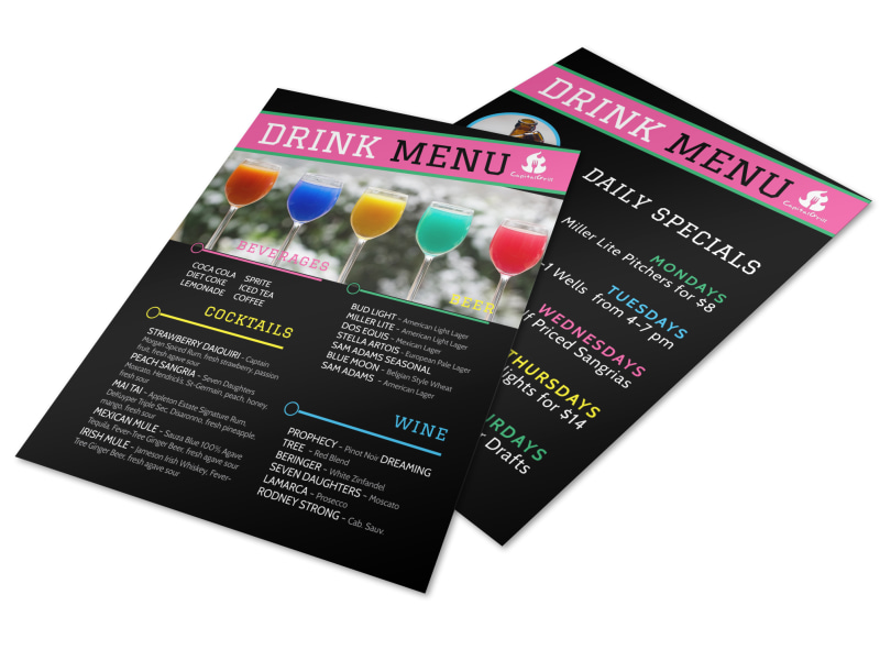 Fun Drink Menu Template