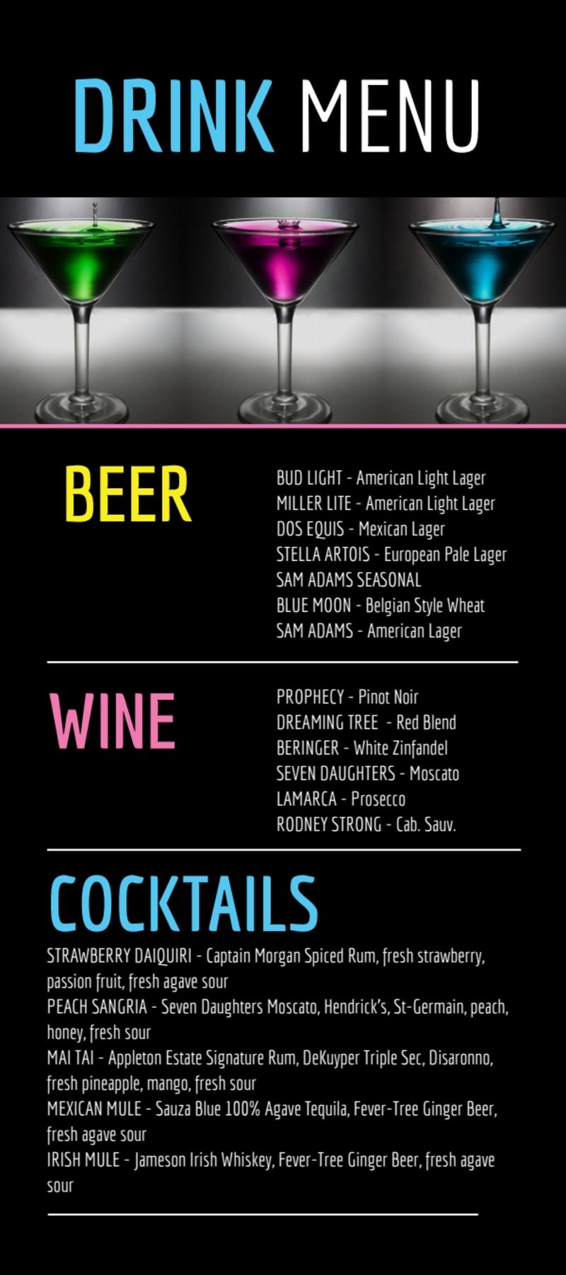 Nightclub Drink Menu Template Preview 2