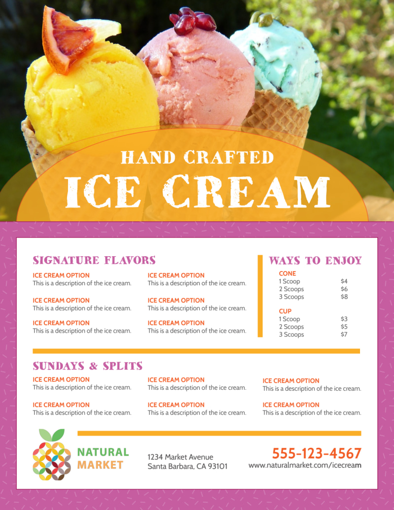 Hand Crafted Ice Cream Menu Template Preview 2