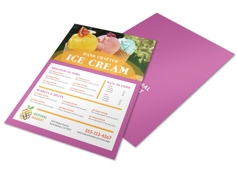 Hand Crafted Ice Cream Menu Template Preview 1