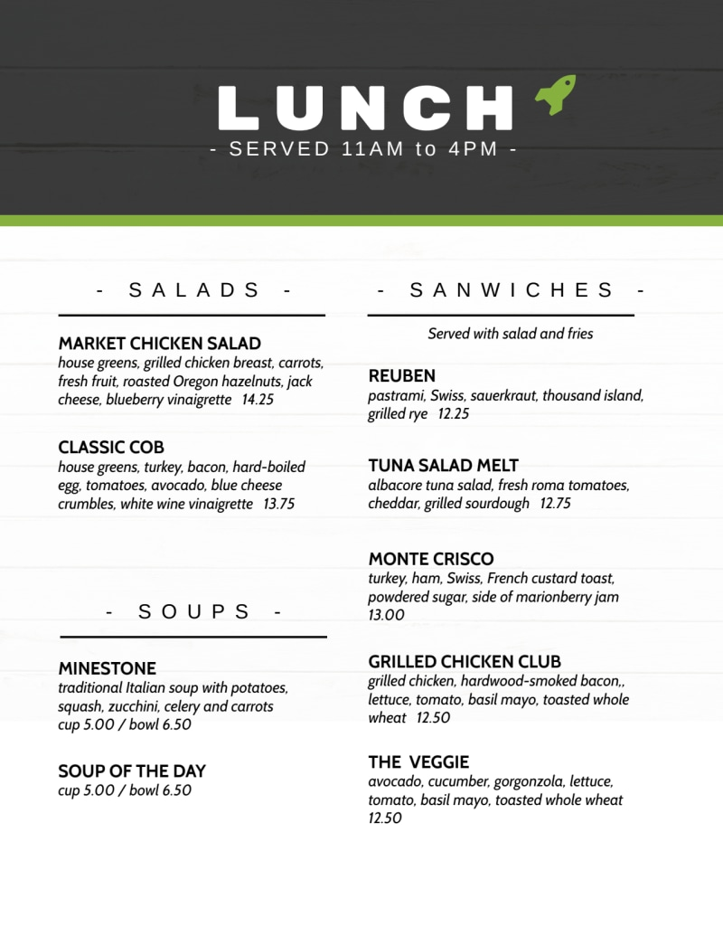 Rocket Lunch Menu Template Preview 2