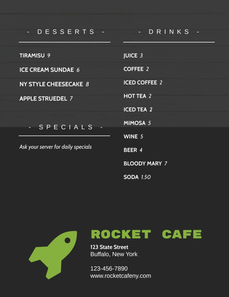 Rocket Lunch Menu Template Preview 3