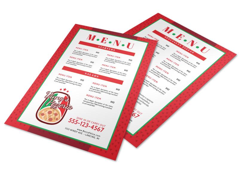 Classic Red Pizza Menu Template