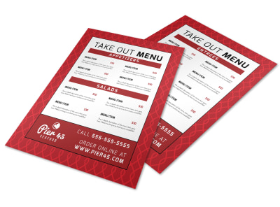 Red Take Out Menu Template preview