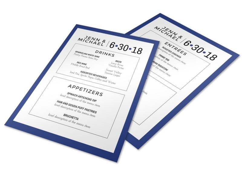 simple wedding menu template mycreativeshop