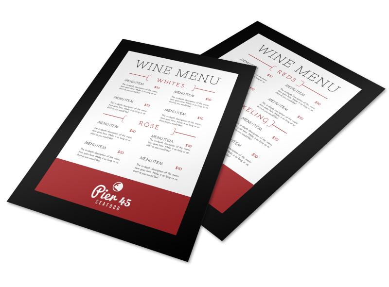 Pier Wine Menu Template