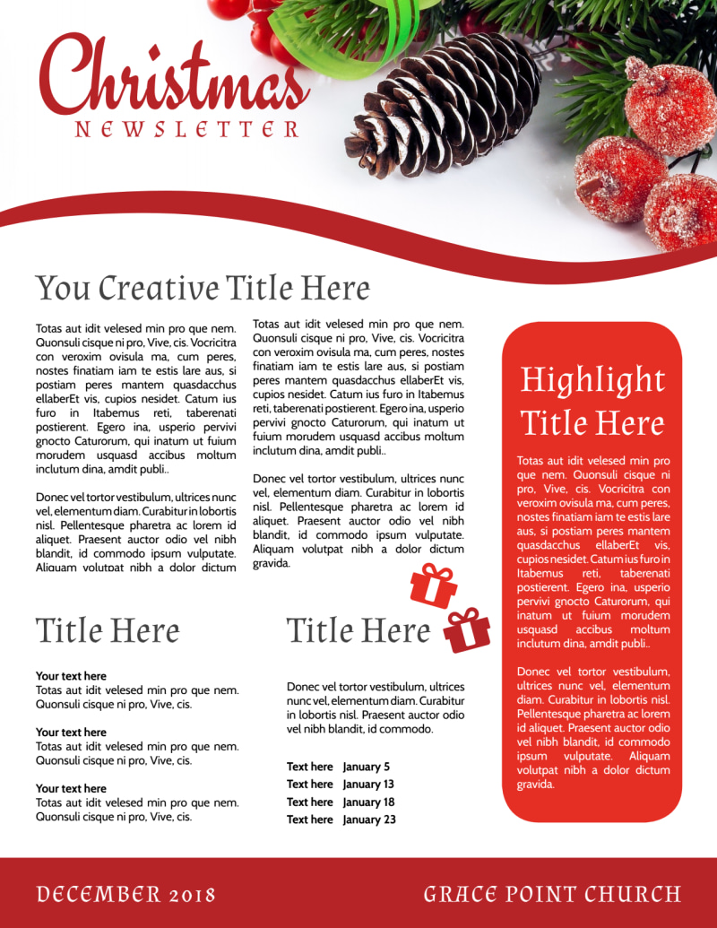 Christmas Newsletter Template Preview 3