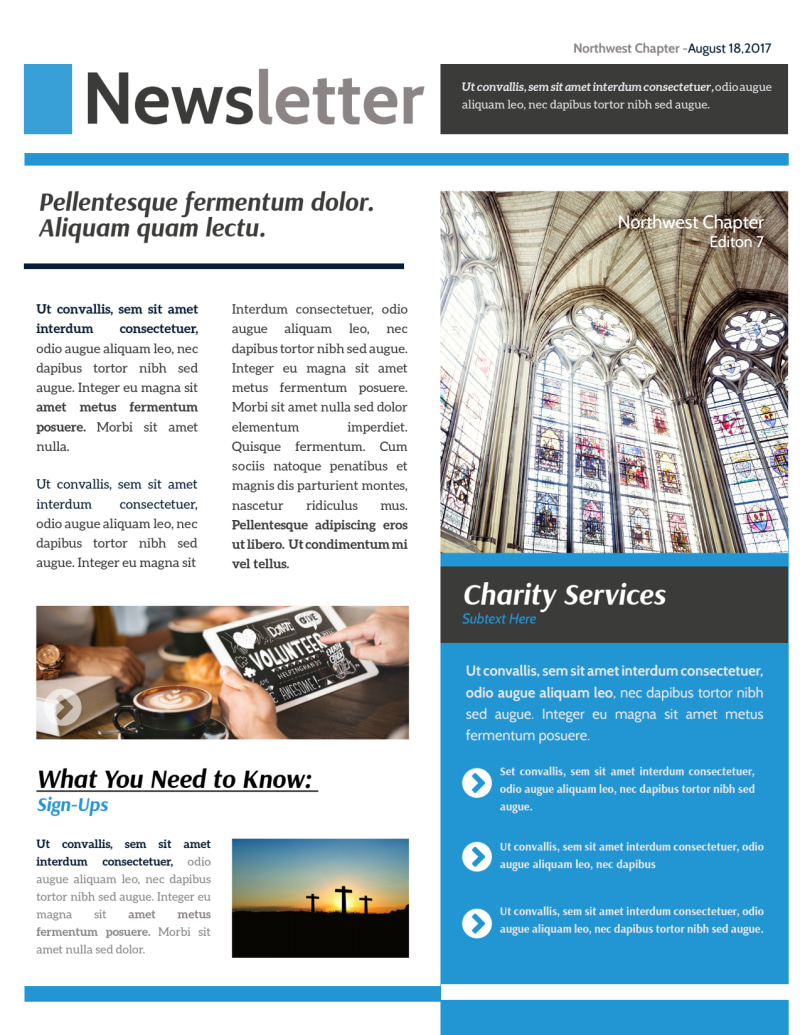 Classic Church Newsletter Template Preview 2
