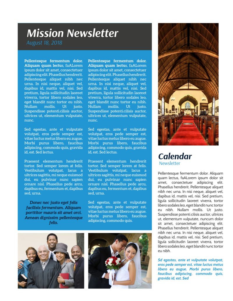 Classic Church Newsletter Template Preview 3