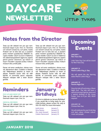 Playful Daycare Newsletter Template Preview 2