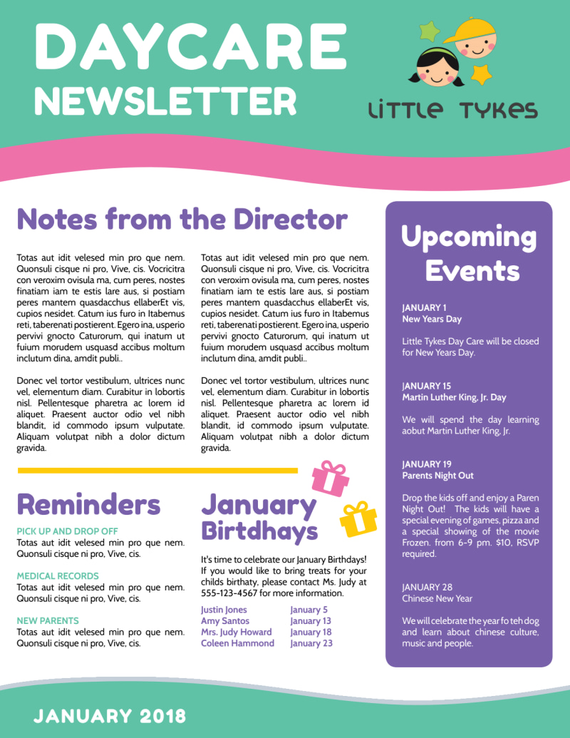 Playful Daycare Newsletter Template Preview 3