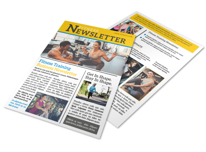 Fitness Training Newsletter Template
