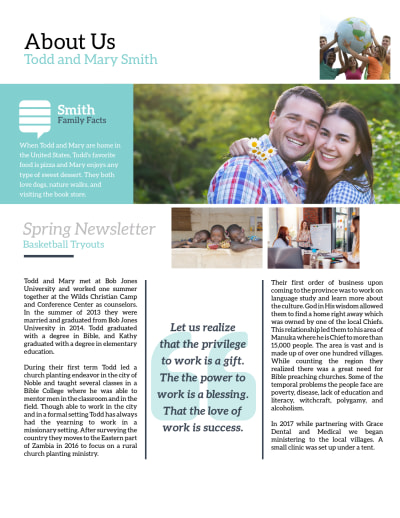 Creative Missionary Newsletter Template Preview 2
