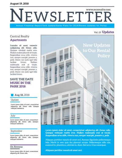Apartment Newsletter Template Preview 1