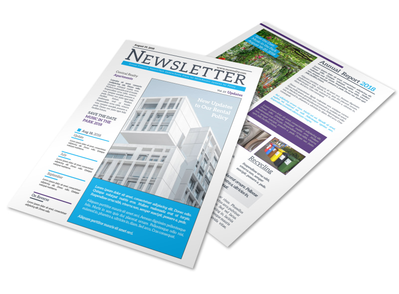 apartment newsletter template mycreativeshop