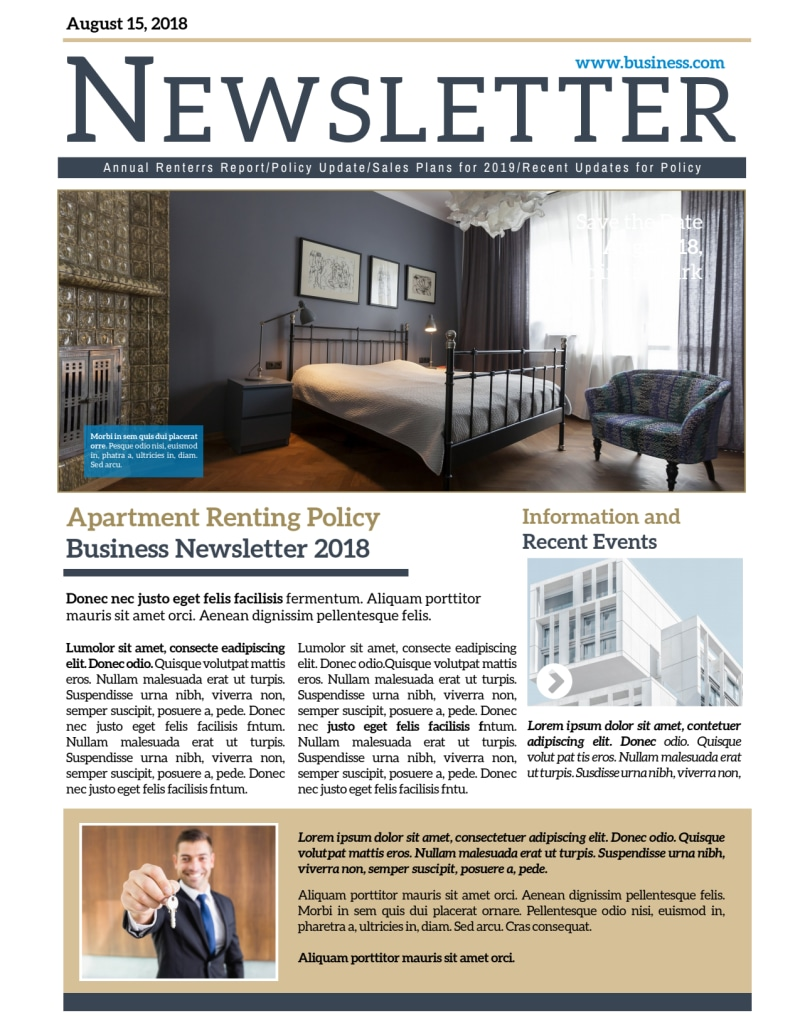 Professional Apartment Newsletter Template Preview 2