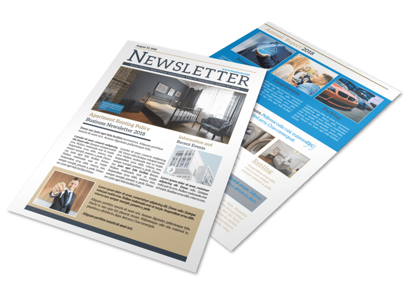 Professional Apartment Newsletter Template Preview 1