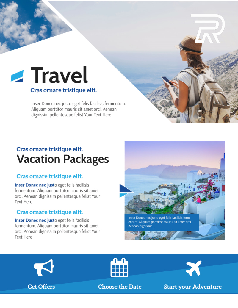 Blue Vacation Packages Flyer Template Preview 2