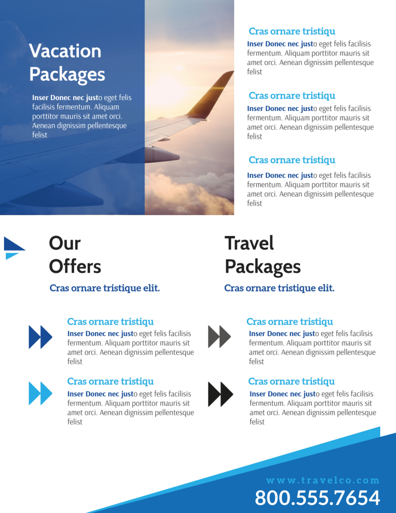 Blue Vacation Packages Flyer Template Preview 3