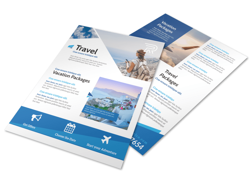 Blue Vacation Packages Flyer Template Preview 1
