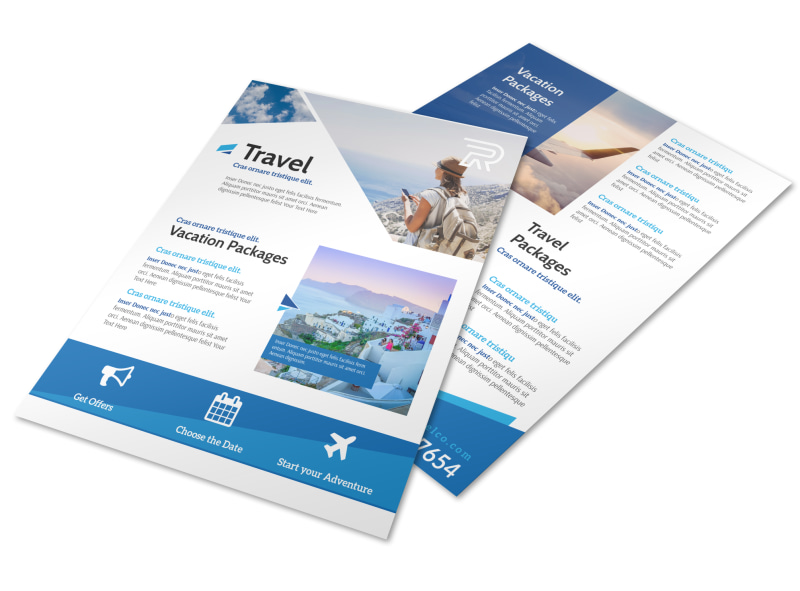 Blue Vacation Packages Flyer Template