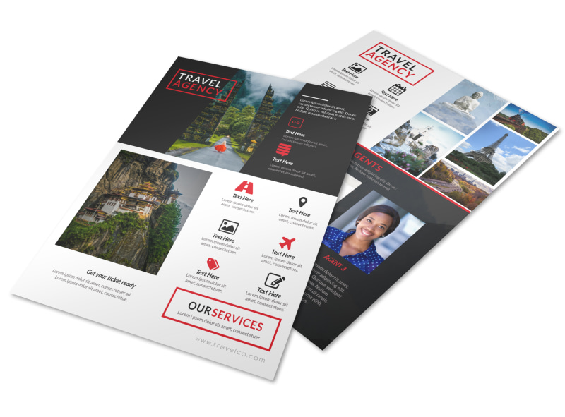 Black & Red Travel Agents Flyer Template