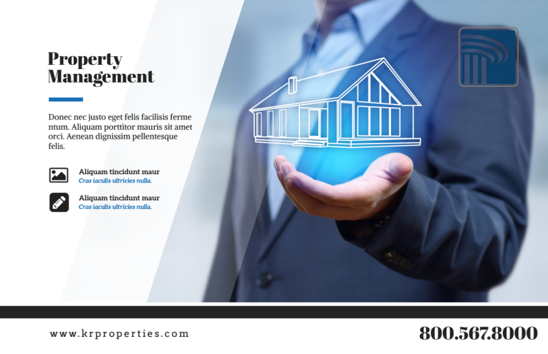 Black & White Property Management Postcard Template Preview 2