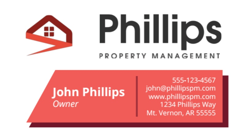 Phillips Property Management Business Card Template Preview 2