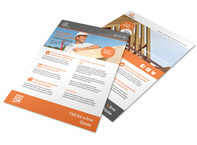 Roofing Installation Flyer Template