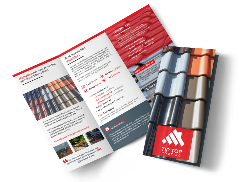 Tip Top Roofing Tri-Fold Brochure Template