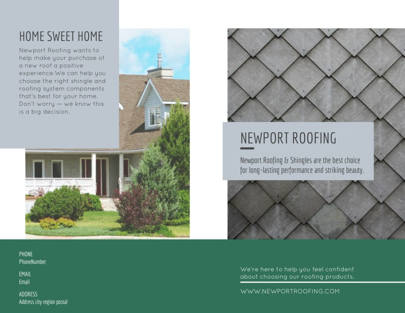 Newport Roofing Bi-Fold Brochure Template Preview 2