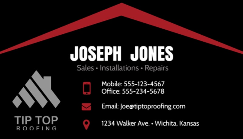Black & Red Roofing Business Card Template Preview 2