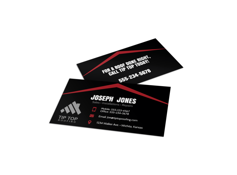 Black & Red Roofing Business Card Template Preview 1