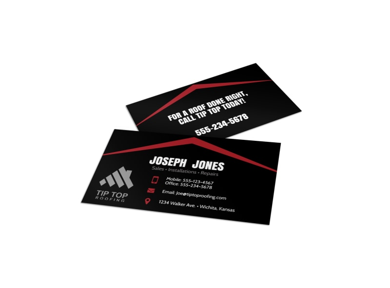 Black Red Roofing Business Card Template Mycreativeshop