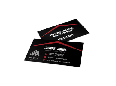 Black & Red Roofing Business Card Template