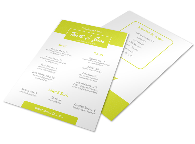 classic breakfast menu template
