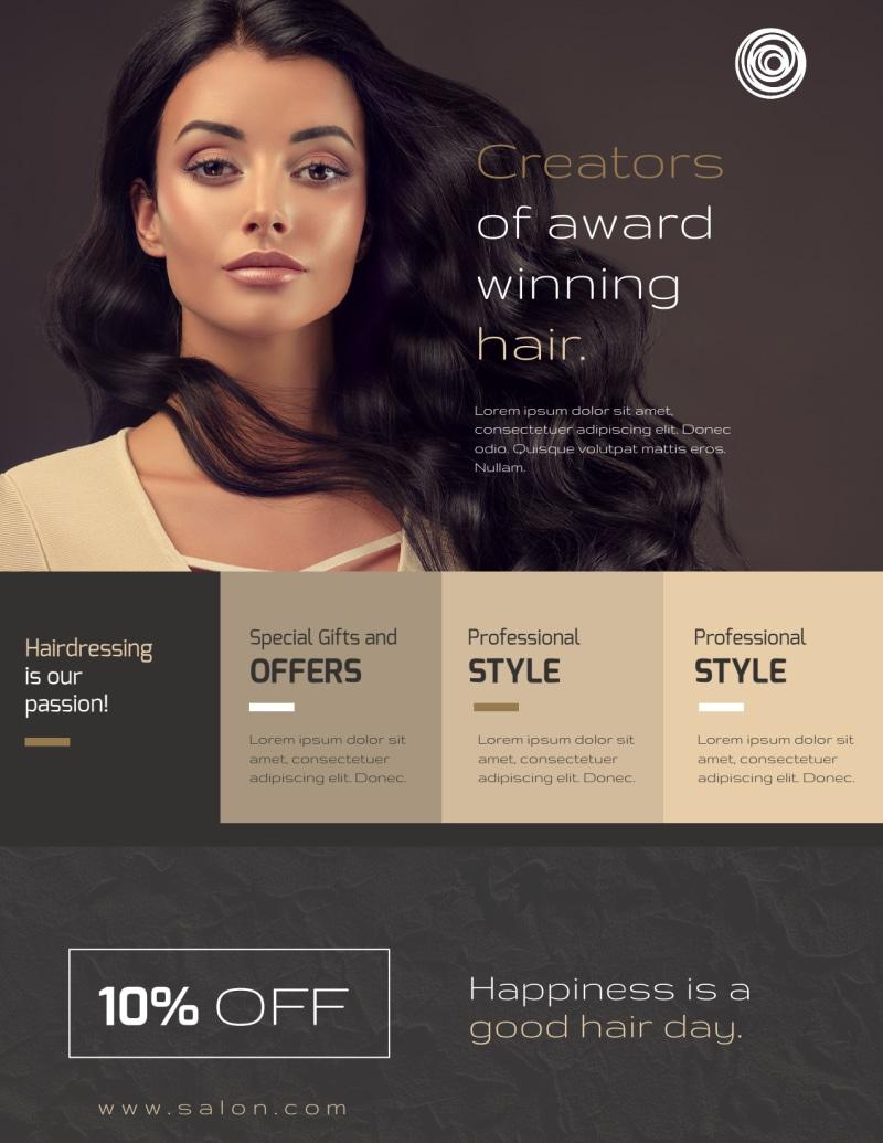 Modern Hair Salon Services Flyer Template Preview 2