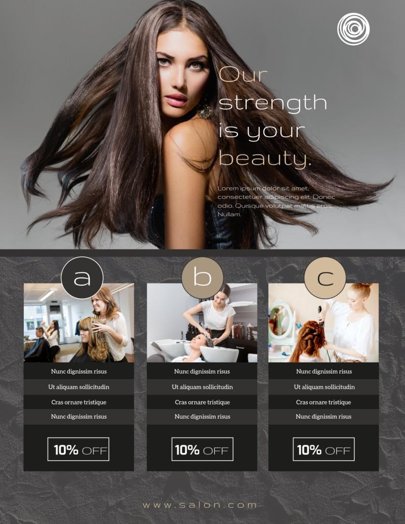 Modern Hair Salon Services Flyer Template Preview 3