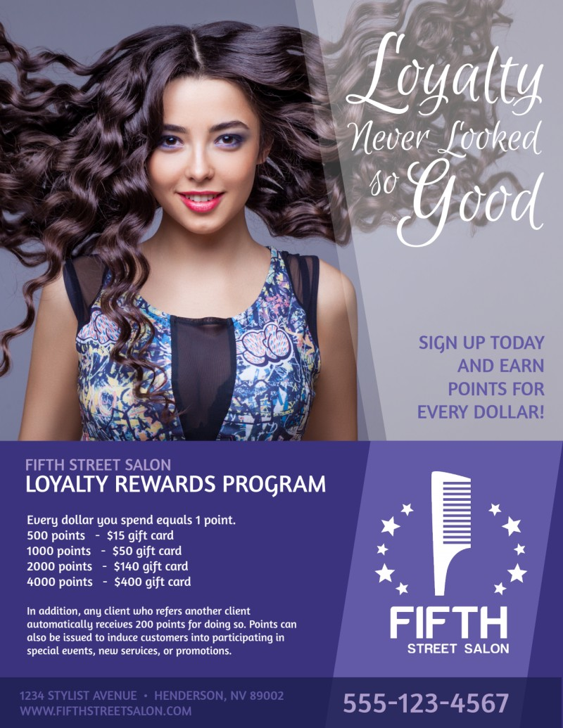 Hair Salon Loyalty Rewards Program Flyer Template Preview 2