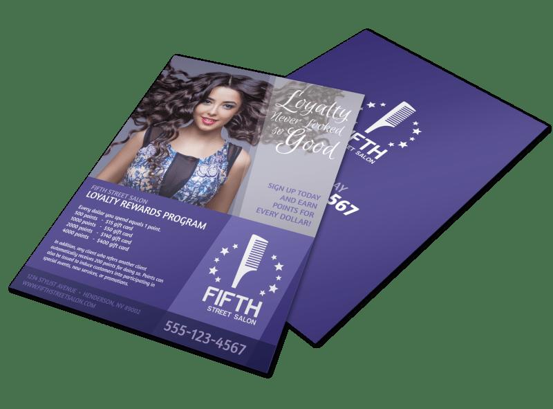 Hair Salon Loyalty Rewards Program Flyer Template Preview 1