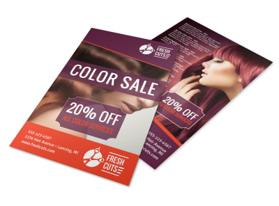 Hair Salon Color Sale Flyer Template preview