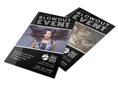 Hair Salon Blowout Event Flyer Template preview