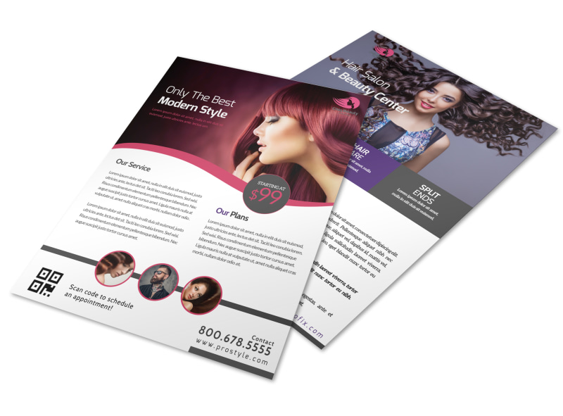Hair Salon About Us Flyer Template
