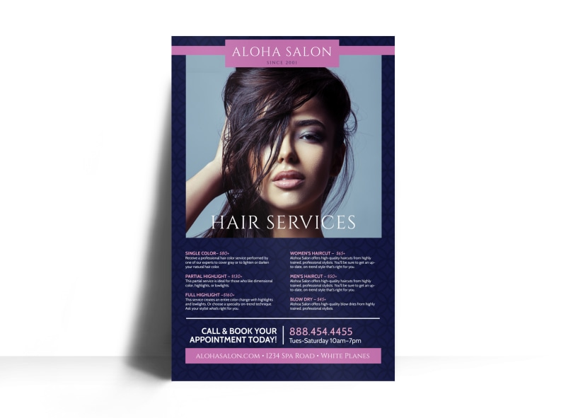 Aloha Hair Salon Services Offered Poster Template