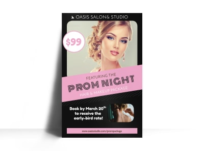 Hair Salon Prom Night Poster Template preview