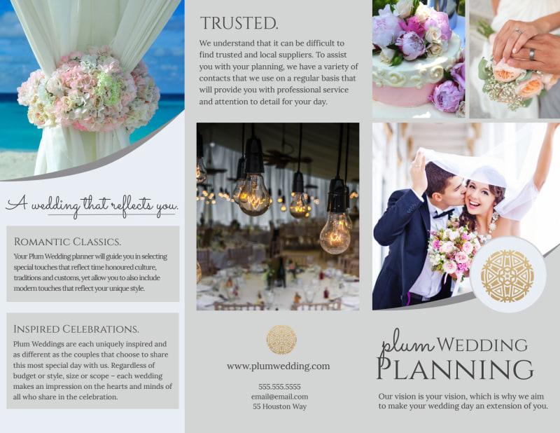 Plum Wedding Planner Brochure Template Preview 2